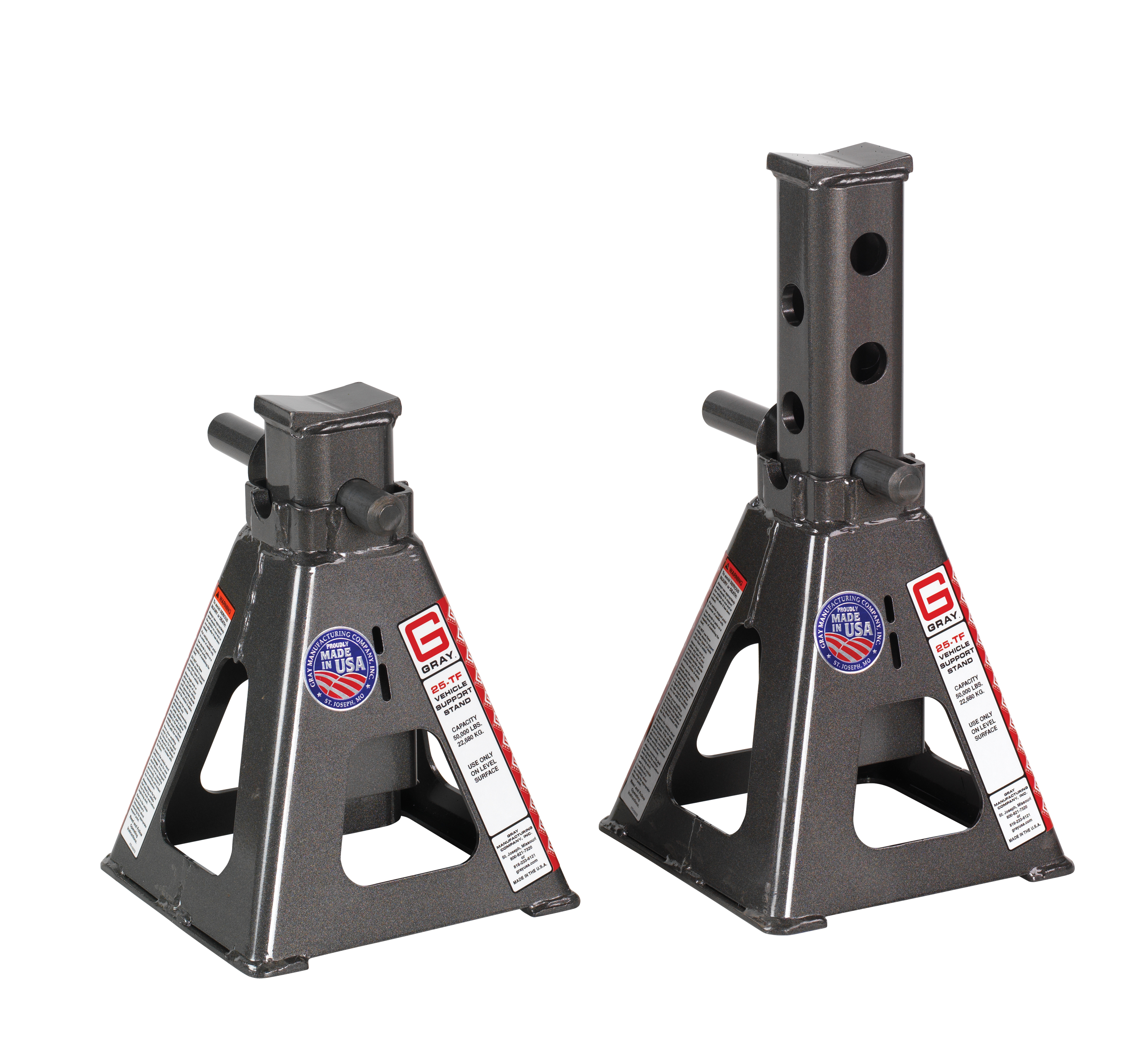 Gray Manufacturing's 25-TF are durable, positive pinning vehicle support stands with a 24,000 lbs. capacity per stand.