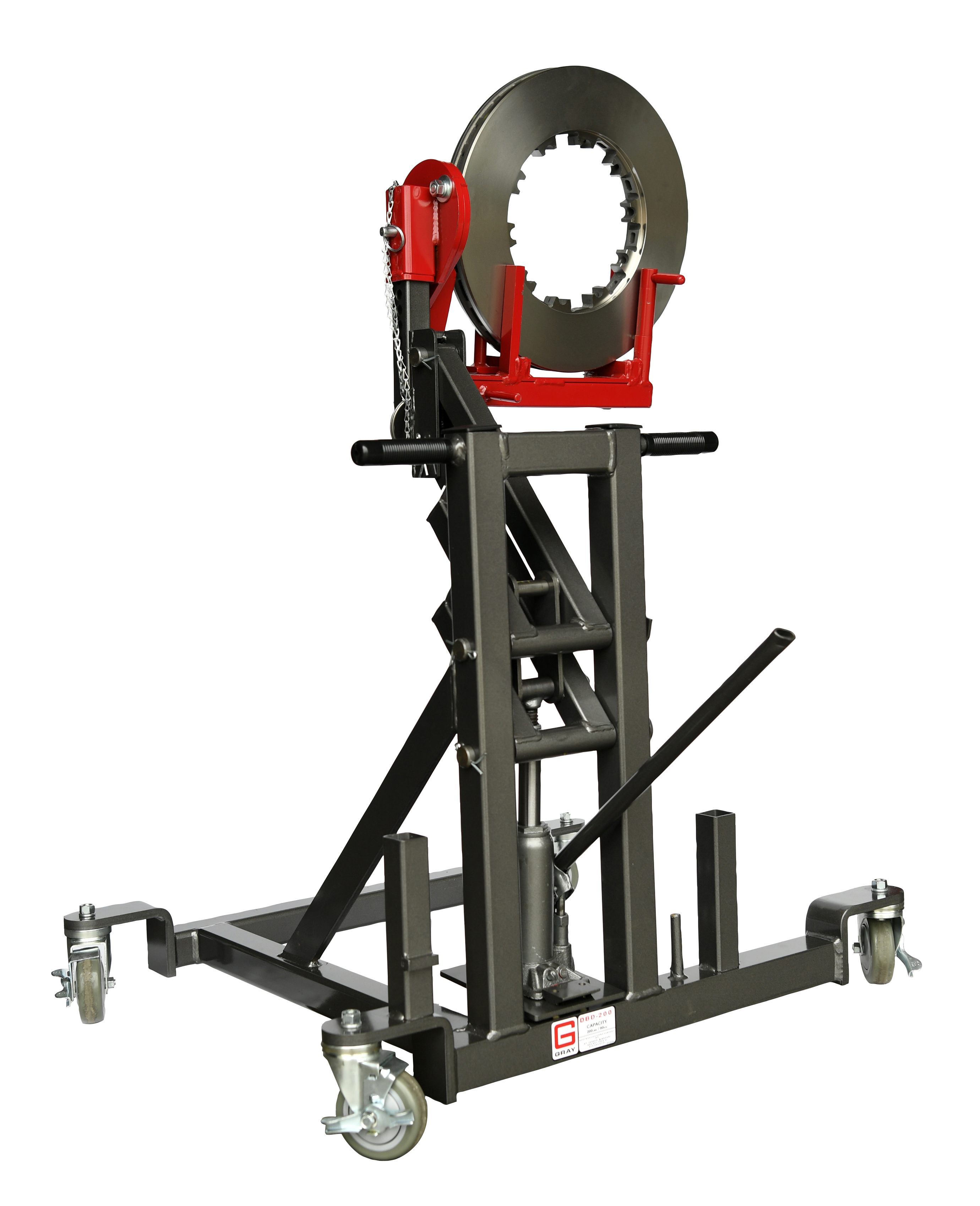 Gray Manufacturing's DBD-200 holds and lifts components for removal and installation, simplifying fleet services.